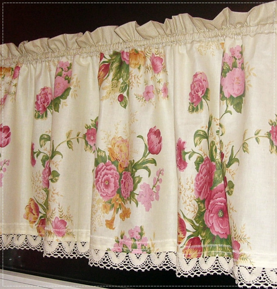 Curtain Rose Curtain kitchen romantic House curtain Romantic To