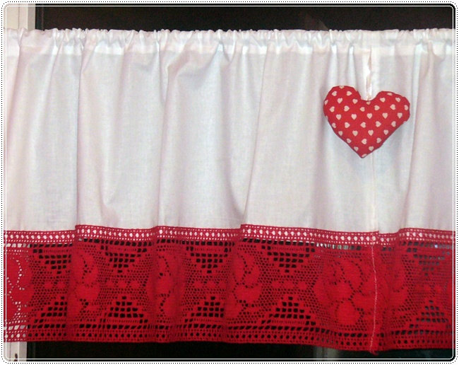 2 curtains shabby chic bistro style folkchristmaskitchenwhiteredcotton lacered rose lace - Christmas Kitchen Curtains